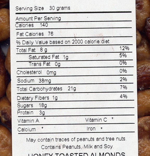 Almonds, Honey Toasted - Nutrition Information