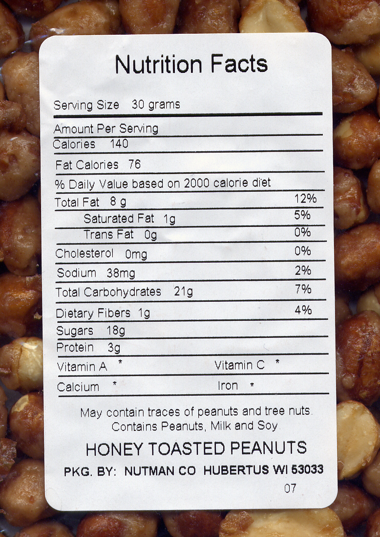 Peanuts, Honey Toasted - Nutrition Information