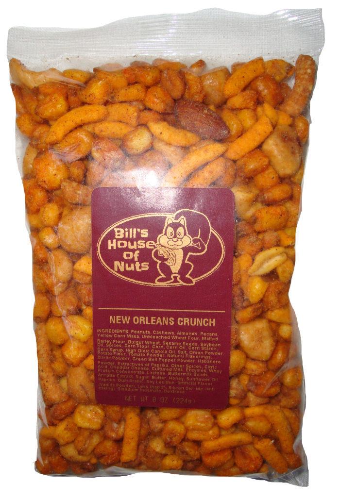 New Orleans Crunch Mix, Almonds Cashews Pecans Peanuts with zesty crackers and spices